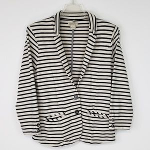 Lucky Brand Navy and Cream Stripe Jacket - SZ M